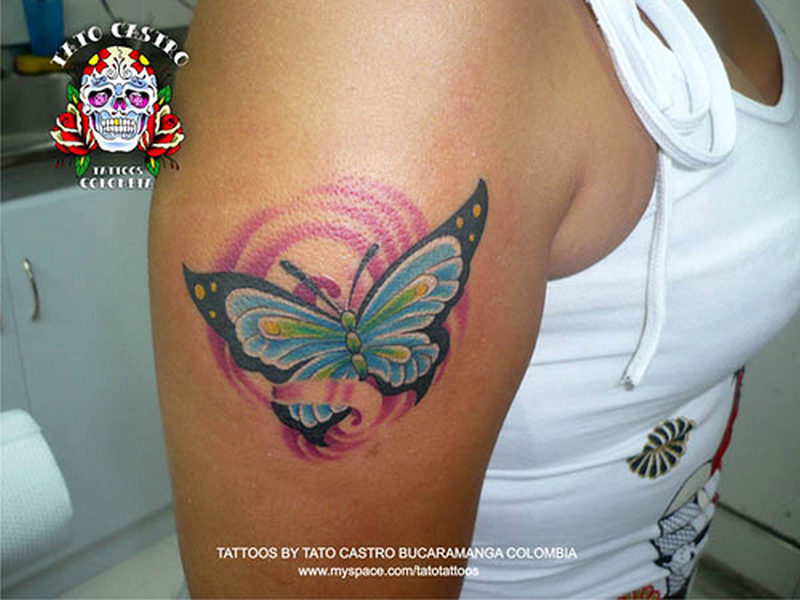 Butterfly tattoo design on biceps