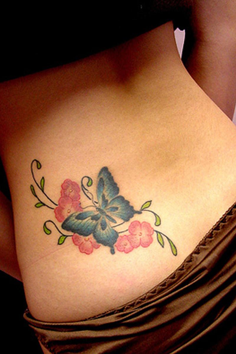 Butterfly tattoo on lower back 2