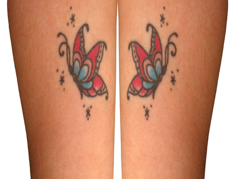 Butterfly tattoos on body