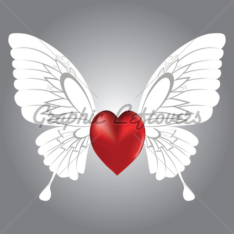 Butterfly winged heart tattoo graphic