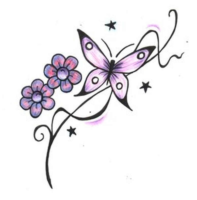 butterfly with flowers stars design tattoo tattoos book. Black Bedroom Furniture Sets. Home Design Ideas