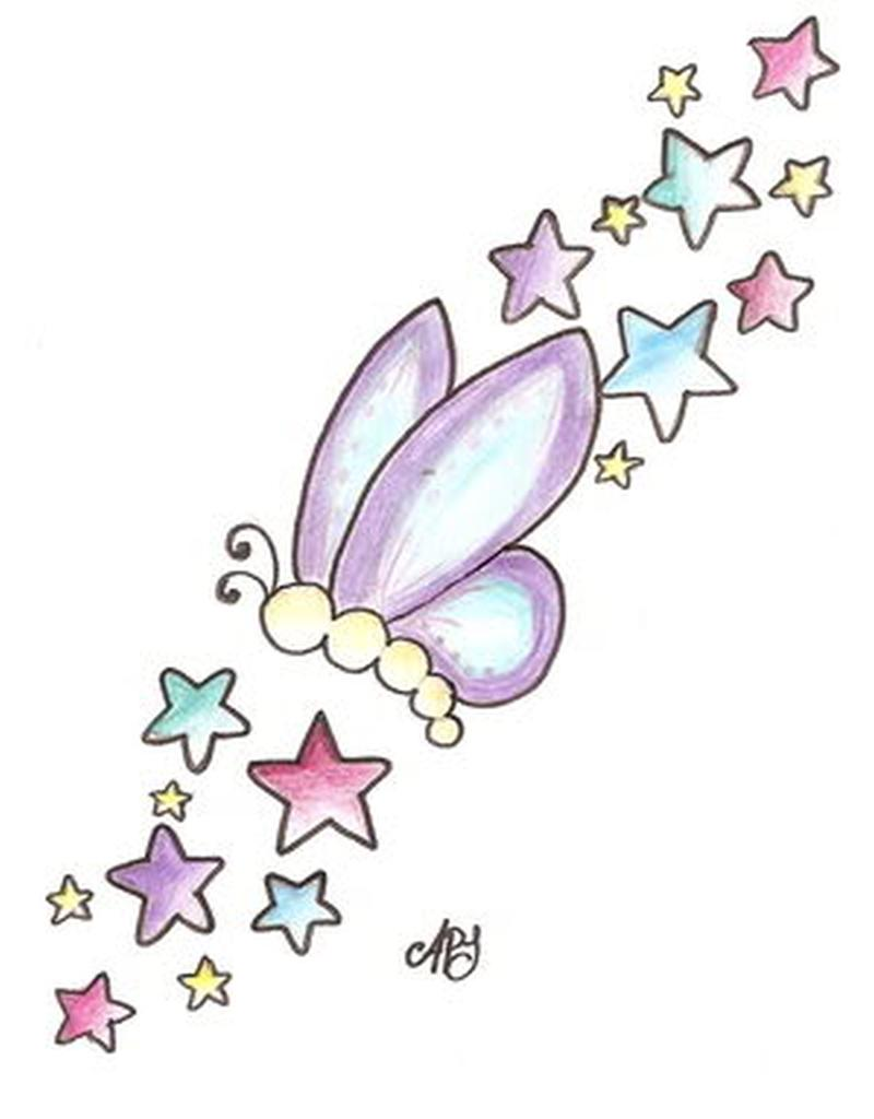 Butterfly With Stars Tattoo Design Tattoos Book 65000 Tattoos