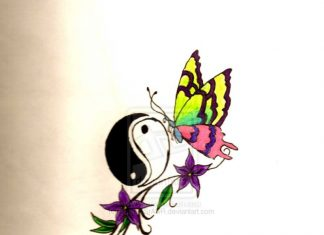 7bcd3be28c188 Butterfly with ying yang tattoo designs