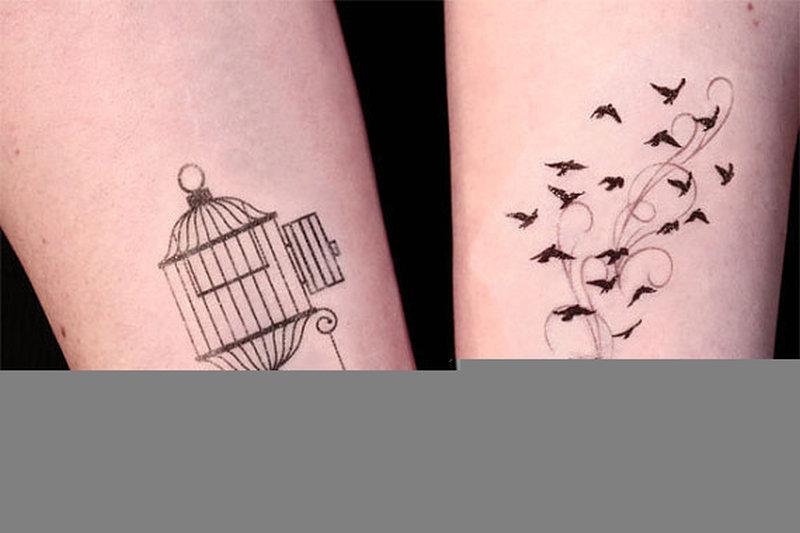 Cage birds tattoo design