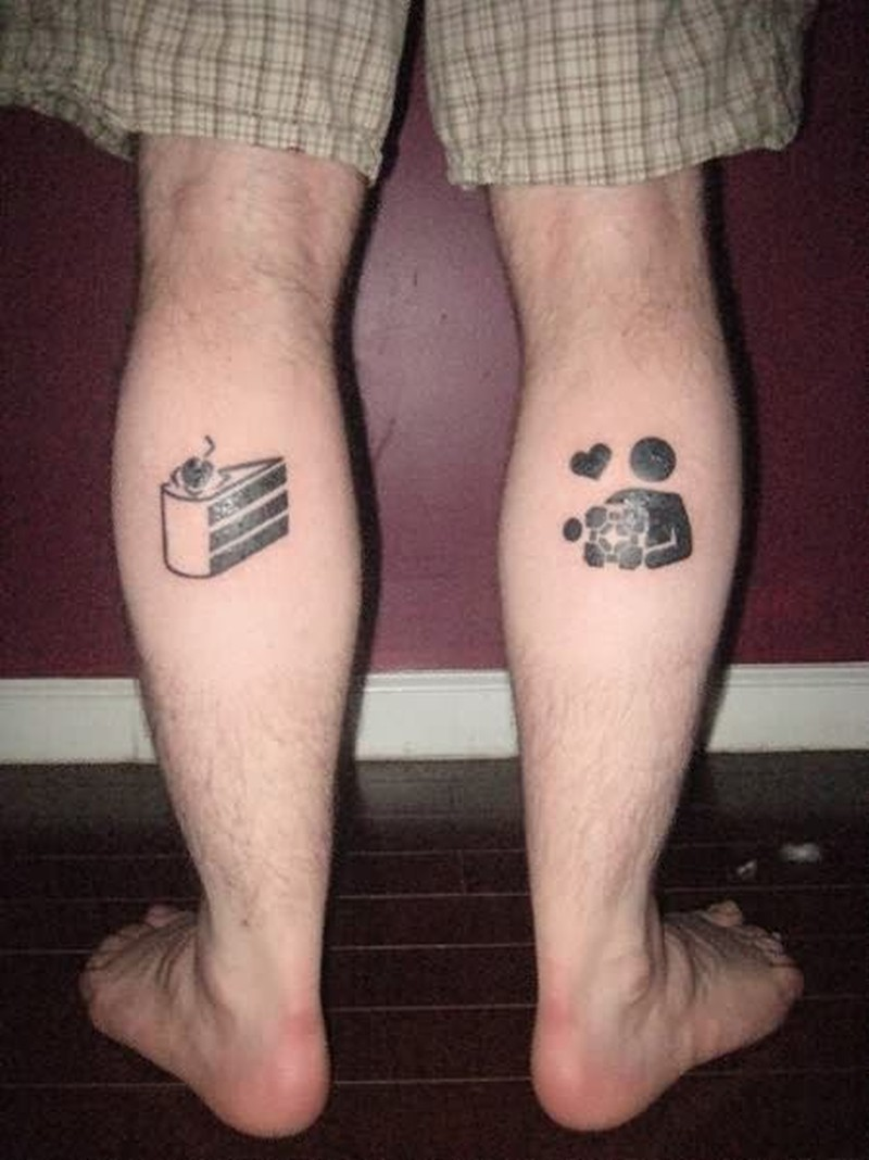 Cake tattoo on legs