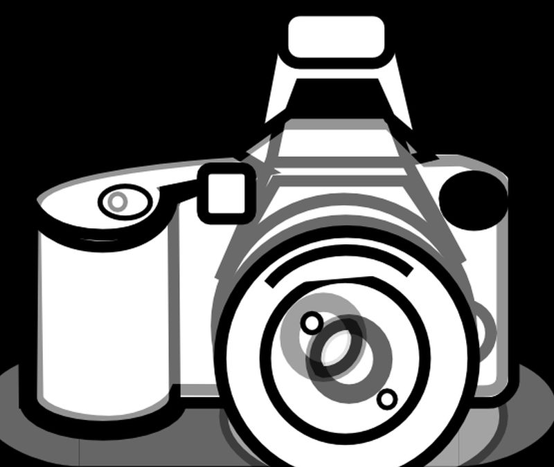 Camera black white line art tattoo design