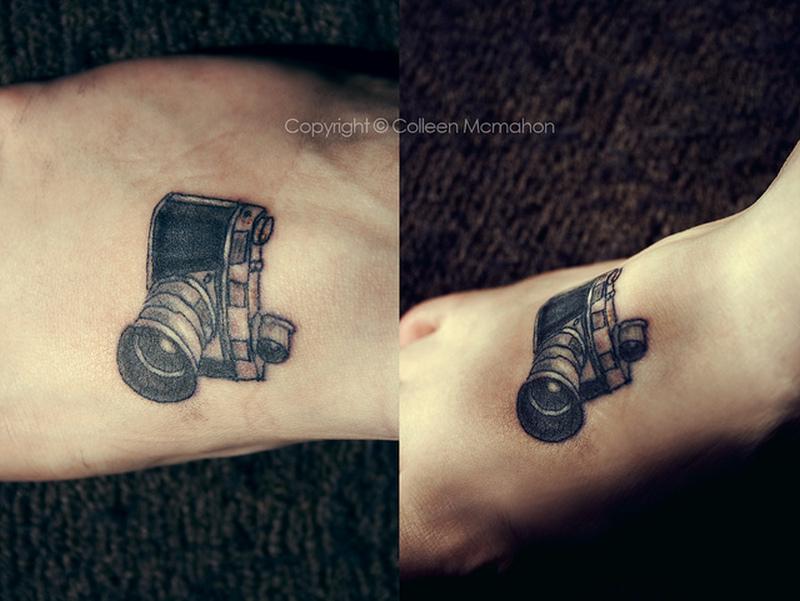 Camera foot tattoo image 3
