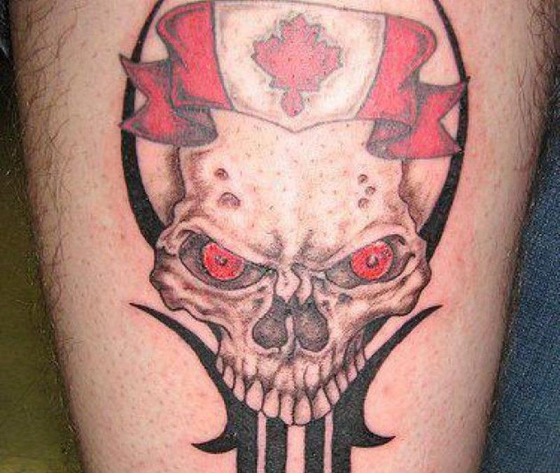 Canadian flag n skull tattoo design