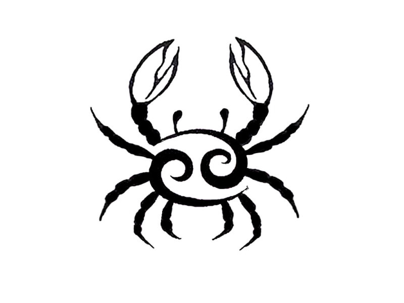 Cancer crab zodiac tattoo design
