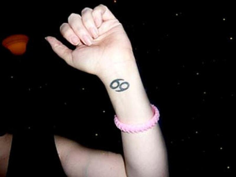 Cancer sign tattoo on wrist 2