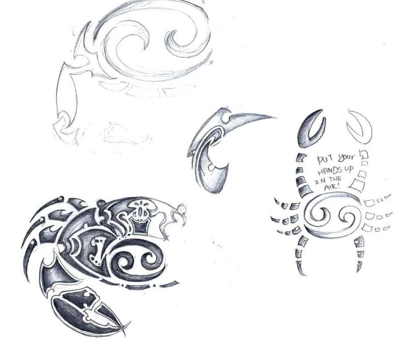 Cancer zodiac sign tribal tattoo sketch