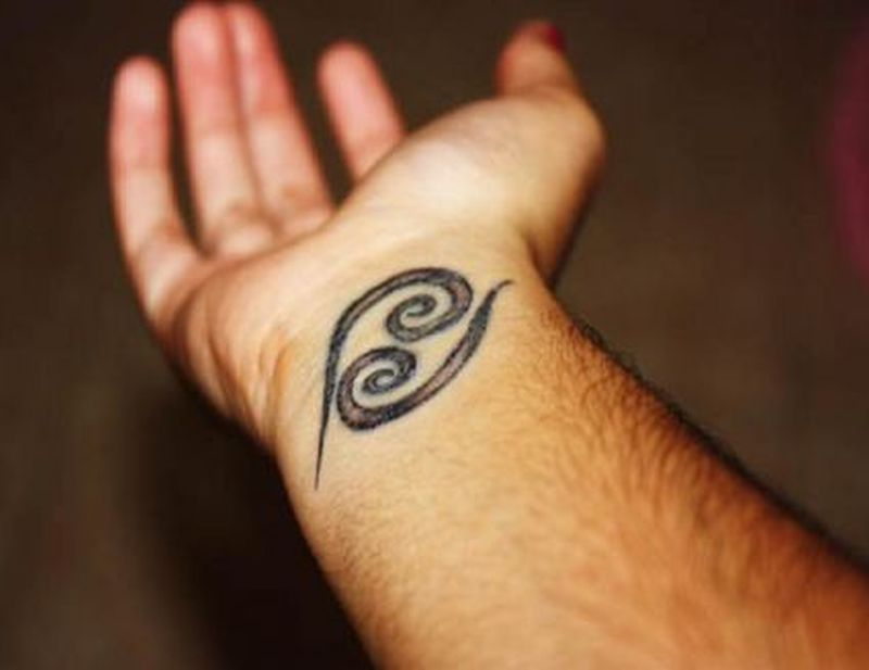 Cancer zodiac tattoo on wrist