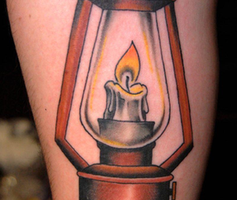 Candle lamp tattoo