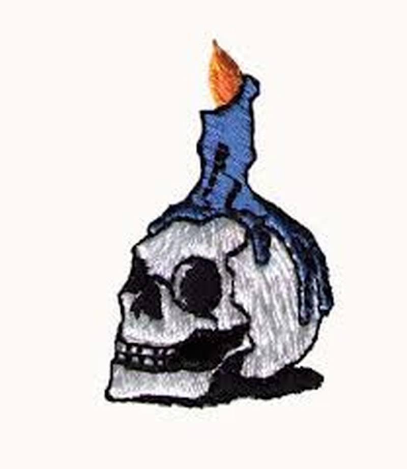 Candle melting on skull tattoo design