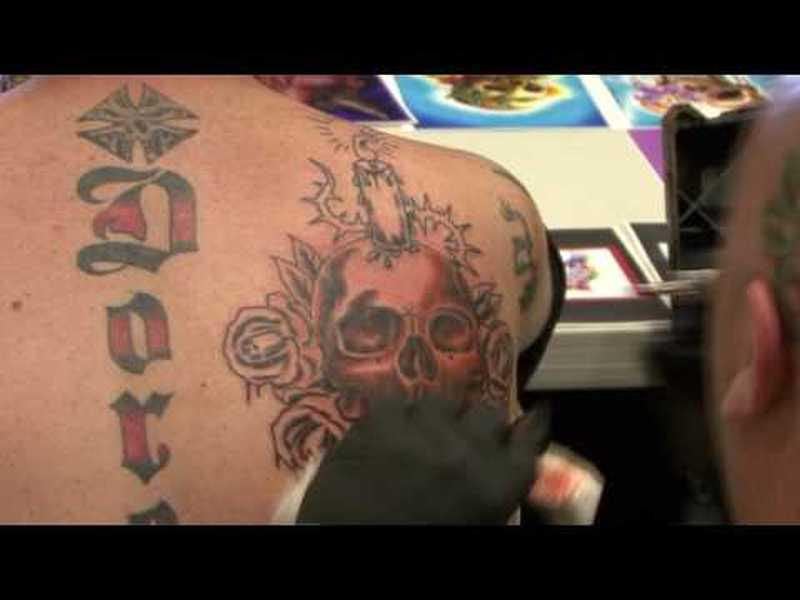 Candle skull tattoo in progress