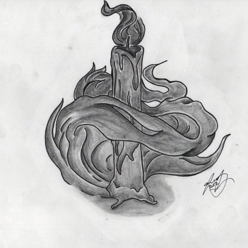 Candle tattoo sketch