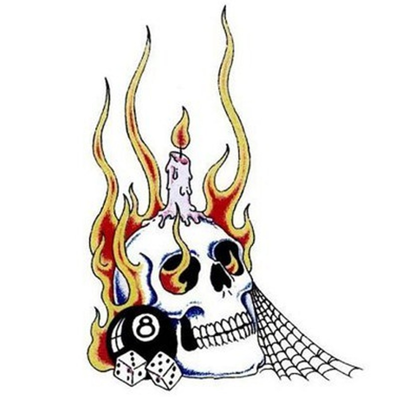Candle with flaming skull tattoo design