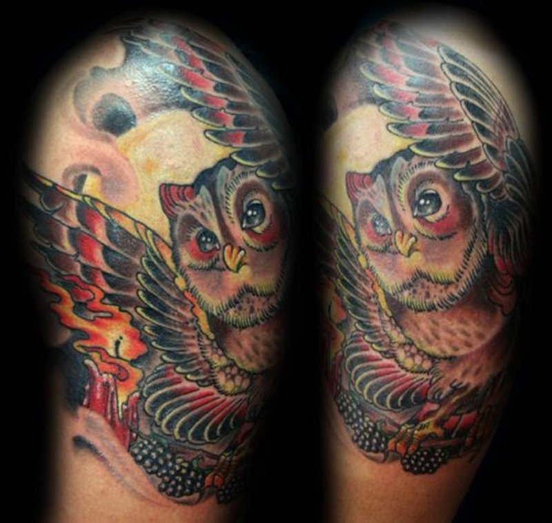 Candle with owl tattoo design