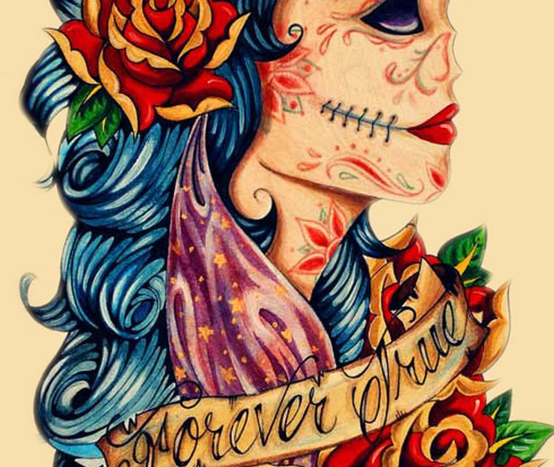 Candy skull gypsy tattoo design