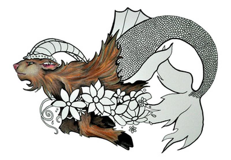 Capricorn goat fish tattoo sample