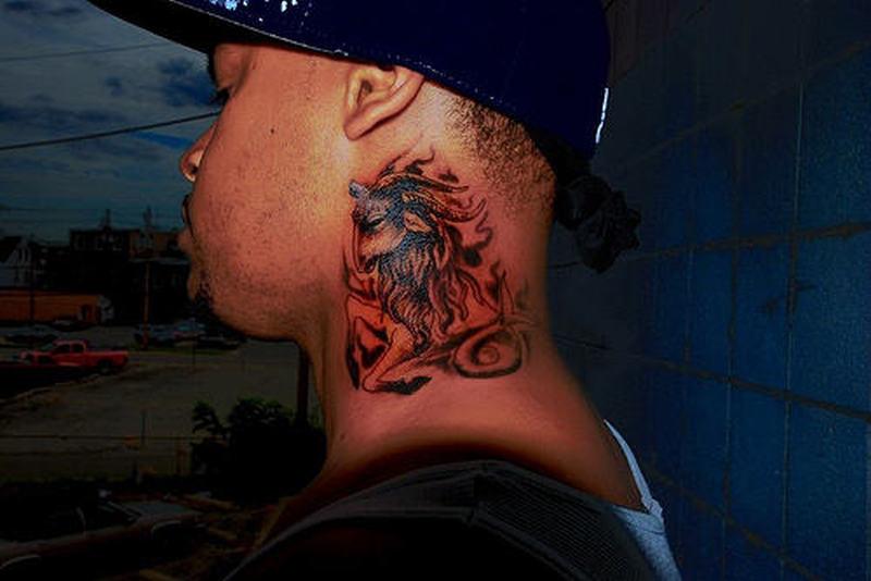 Capricorn tattoo design on neck