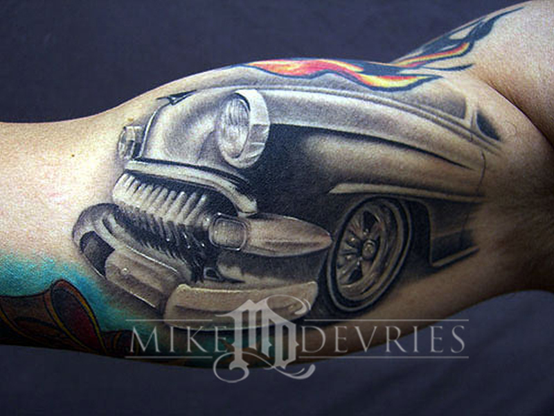 Car front tattoo on muscles 2