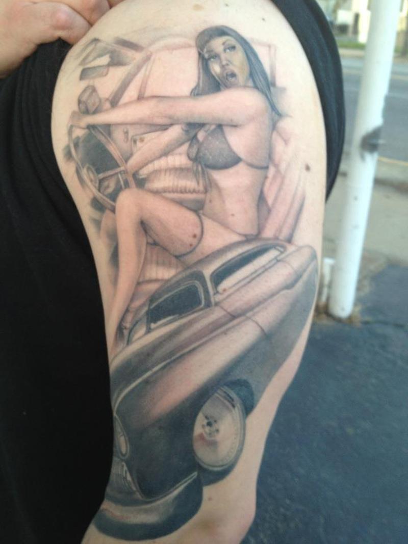 Car pin up girl tattoo