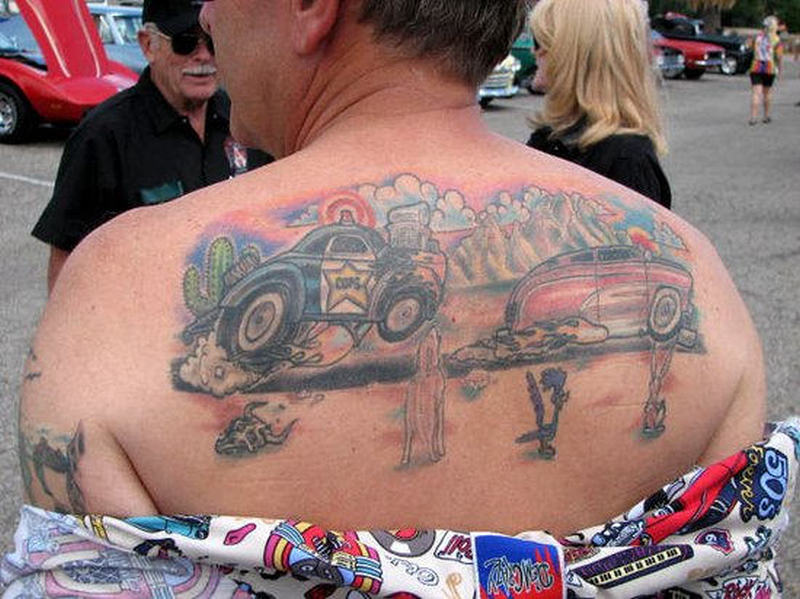 Car tattoo designs on upper back for men