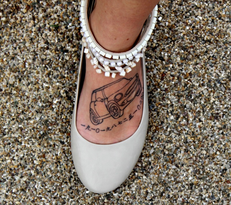 Car tattoo for foot