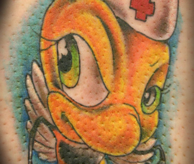 Cartoon bee tattoo design