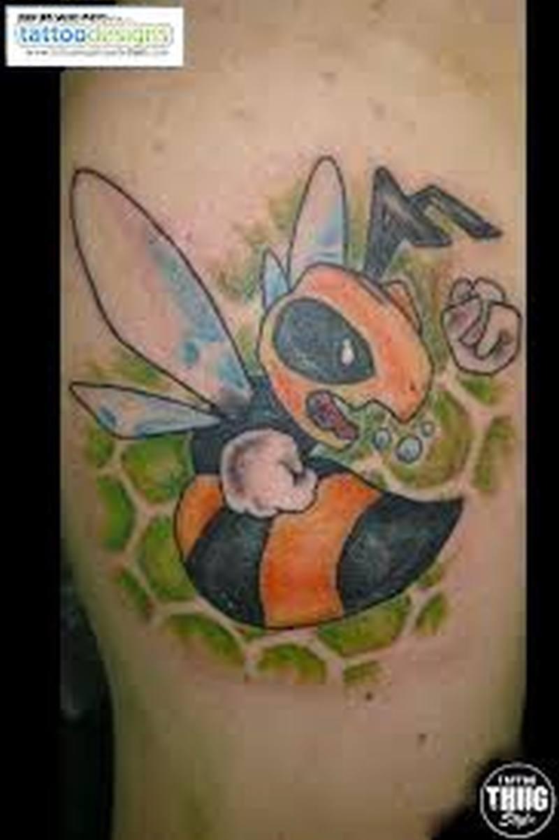 Cartoon bee tattoo