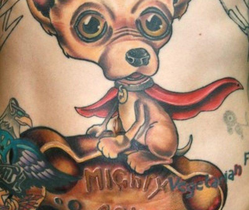 Cartoon dog n mighty bone tattoo design