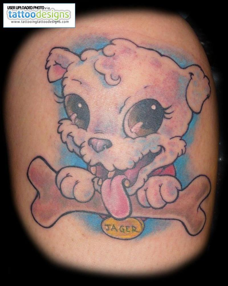 Cartoon dog with bone tattoo design