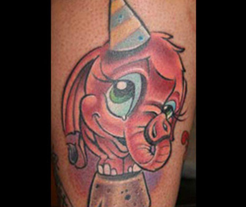 Cartoon elephant tattoo design