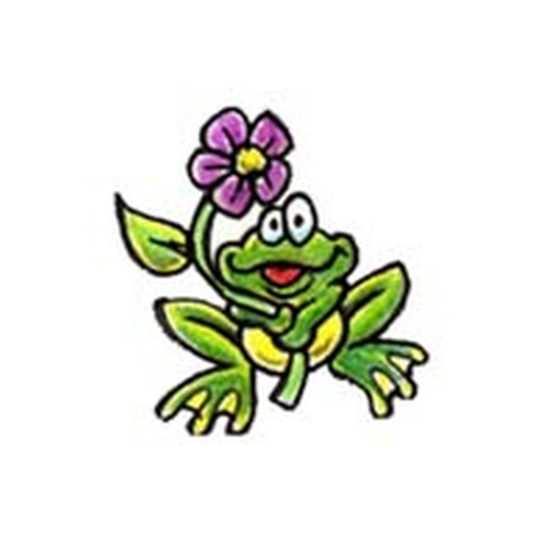 cartoon frog with pink flower tattoo design tattoos book tattoos designs. Black Bedroom Furniture Sets. Home Design Ideas
