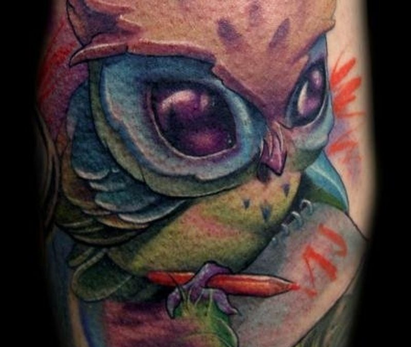 Cartoon owl tattoo 2
