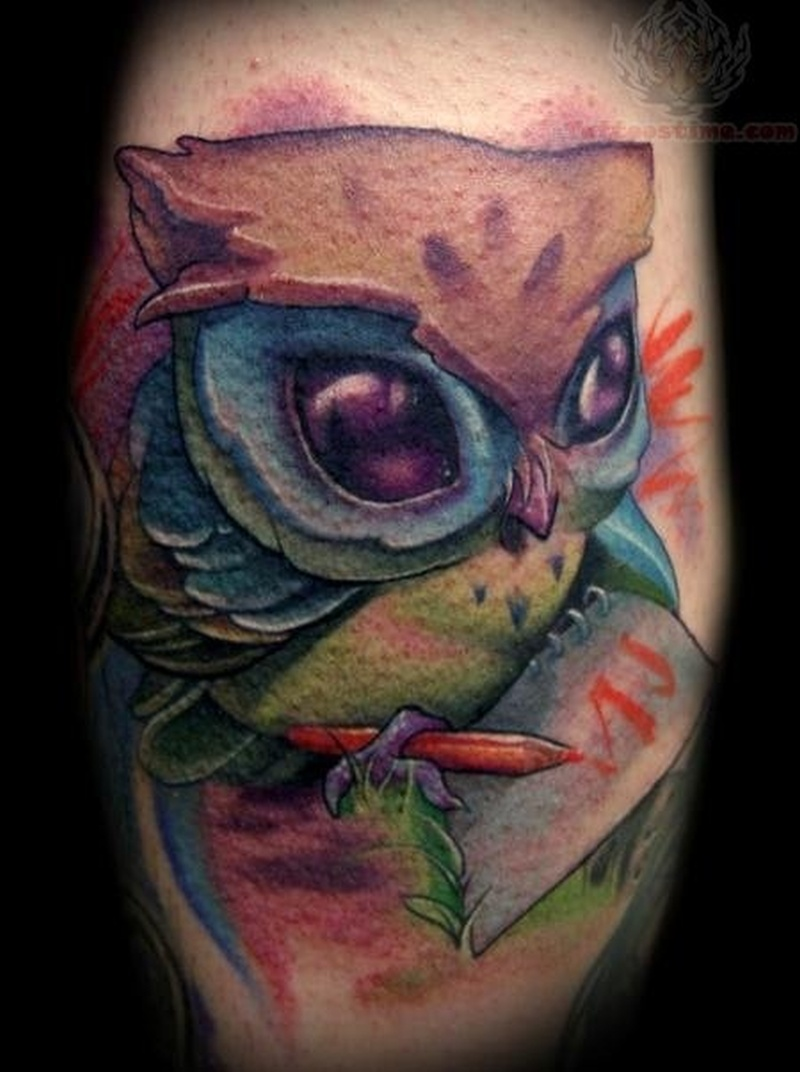 Cartoon owl tattoo 2