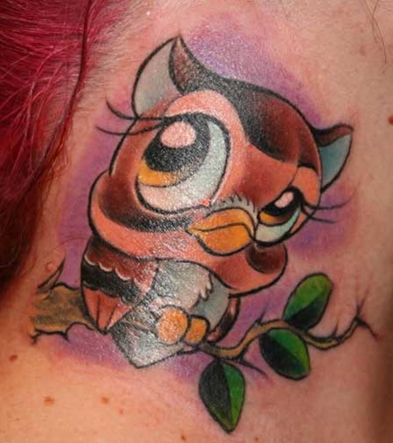 Cartoon owl tattoo on neck