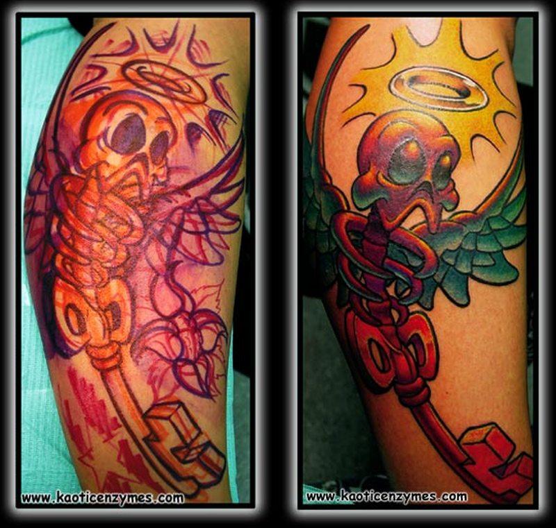 Cartoon skeleton key tattoo image