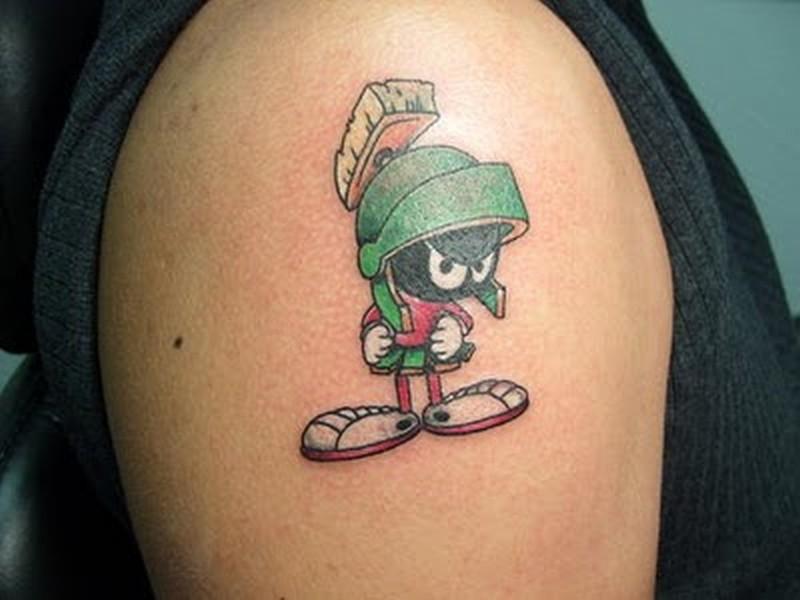 Cartoon tattoo design on shoulder 2