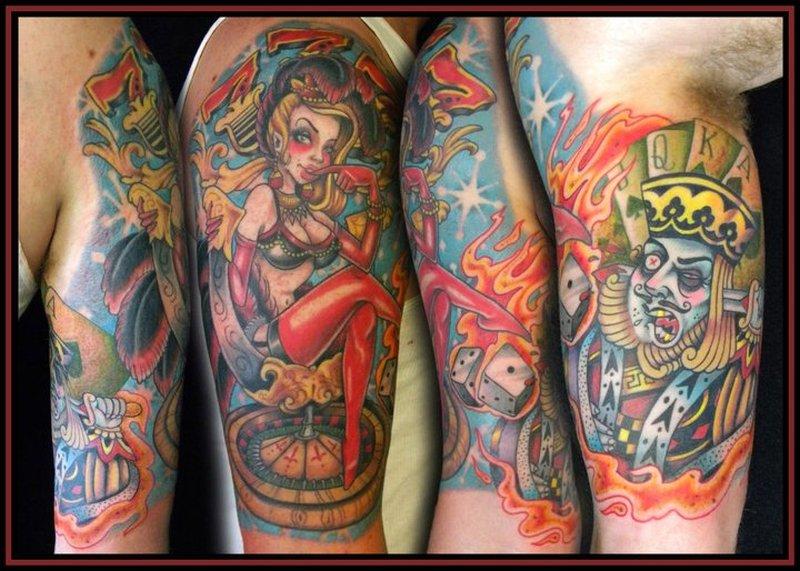 Casino gambling pin up girl tattoo design
