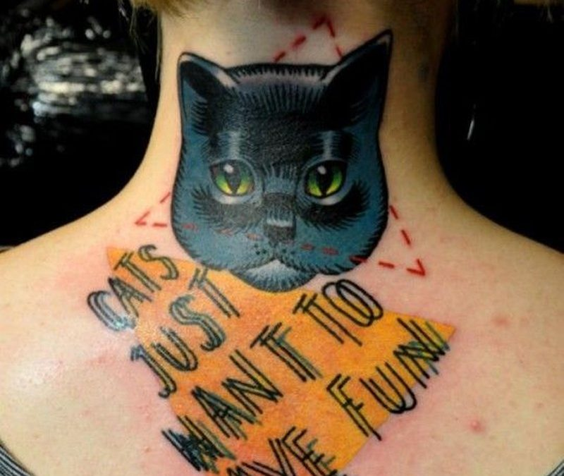 Cat and inscription with geometric shapes tattoo by Marcin Aleksander Surowiec