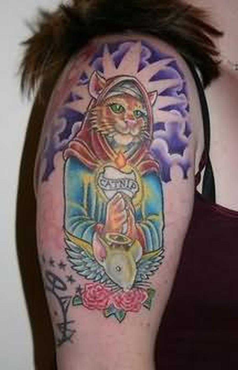 Cat angel praying tattoo
