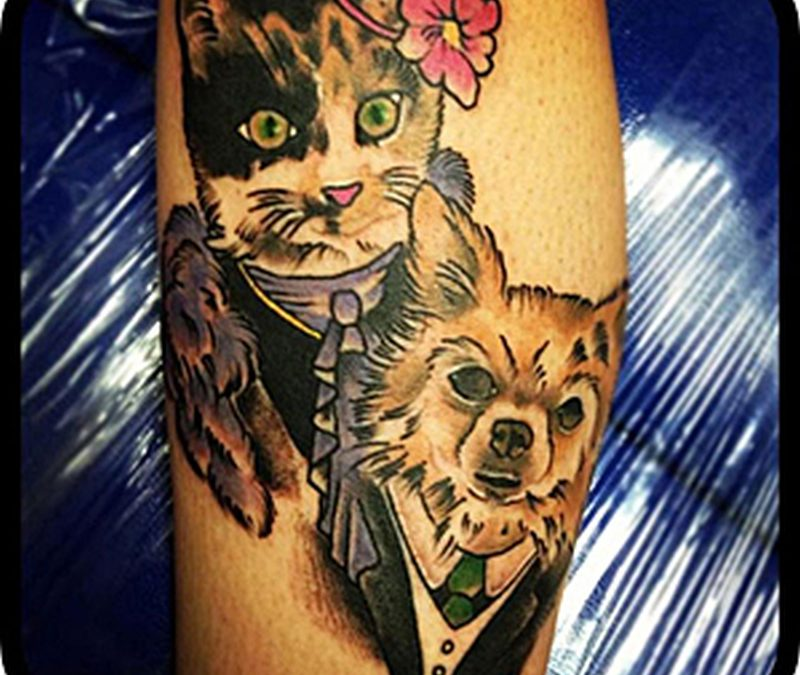Cat n dog tattoo