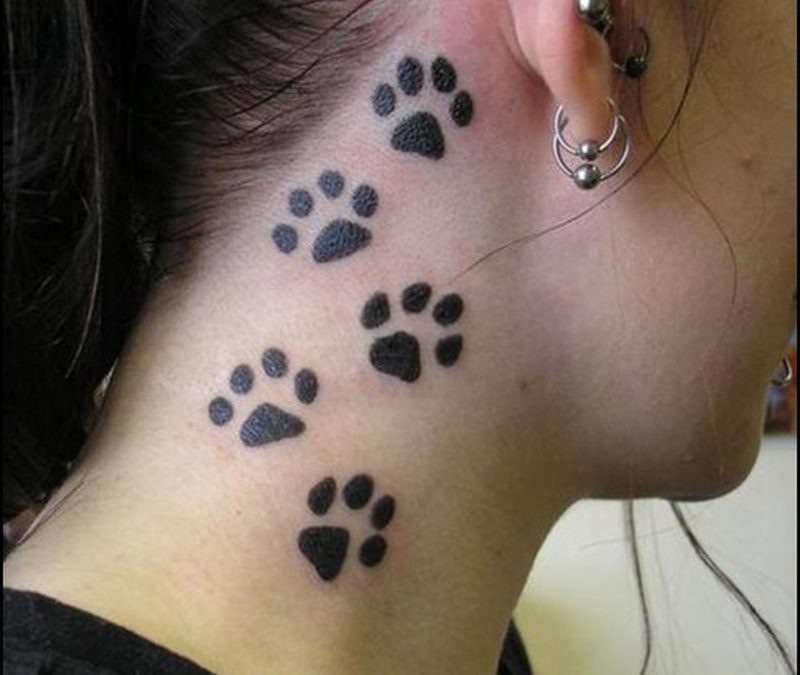 Cat paws tattoo designs on neck