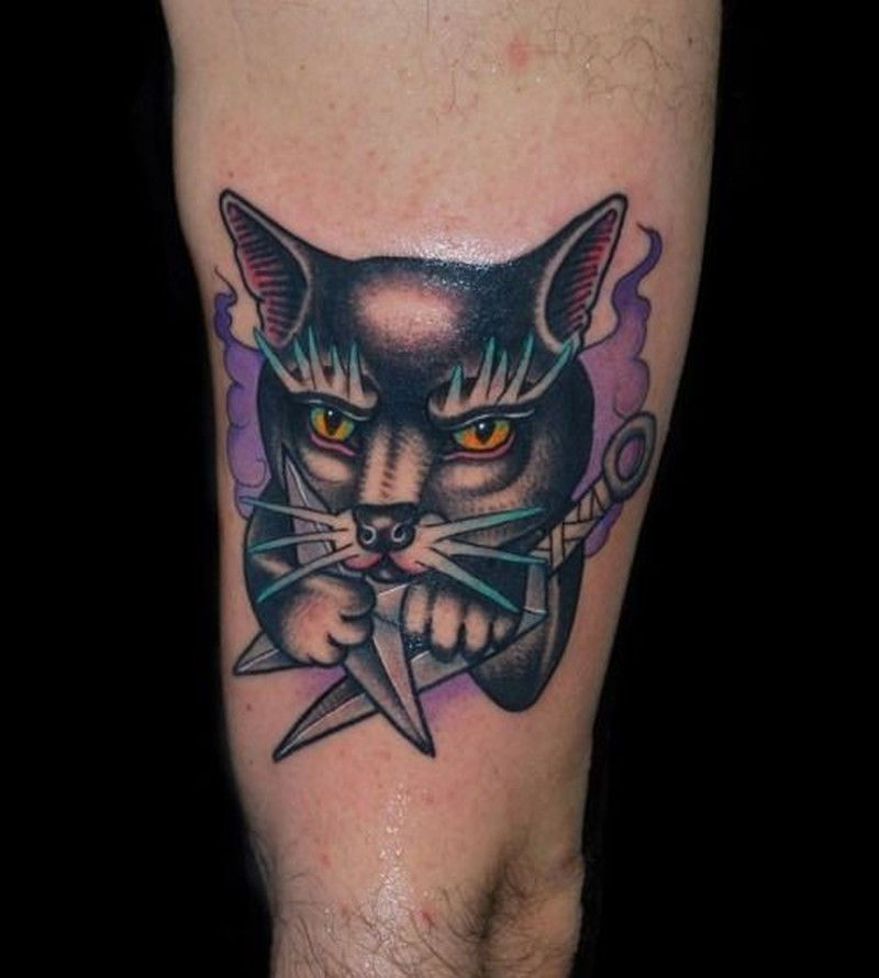 Cat with daggers tattoo by Alex Ciliegia