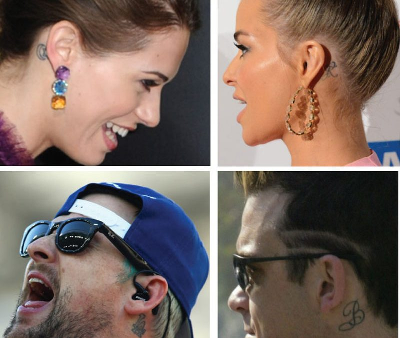 Celebrities ear tattoo designs