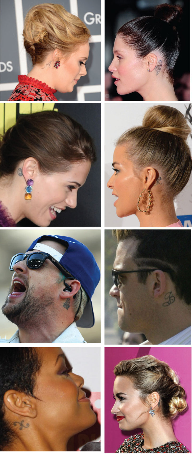 Celebrities ear tattoo designs