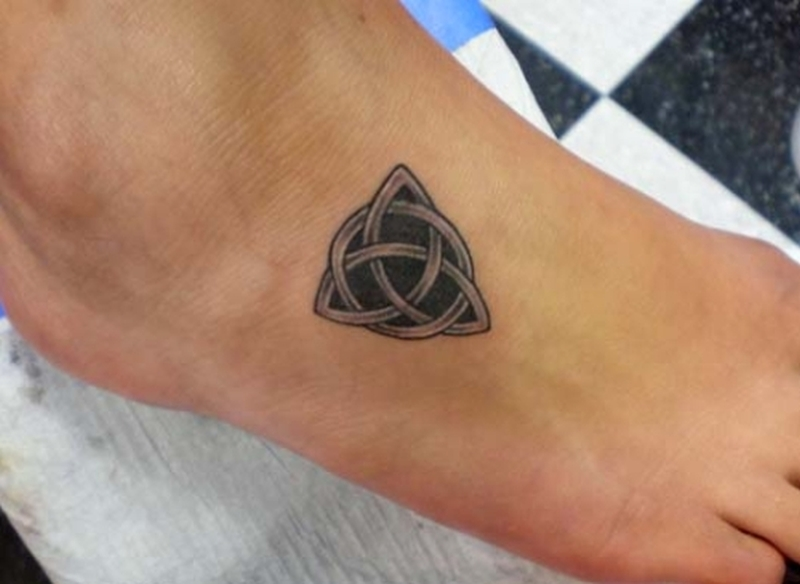 Celtic circle knot tattoo on foot
