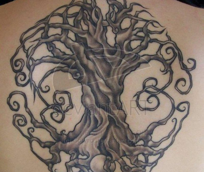 Celtic circle tree of life tattoo design